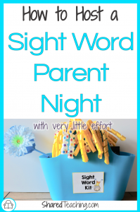 How to Host a Sight Word Parent Night