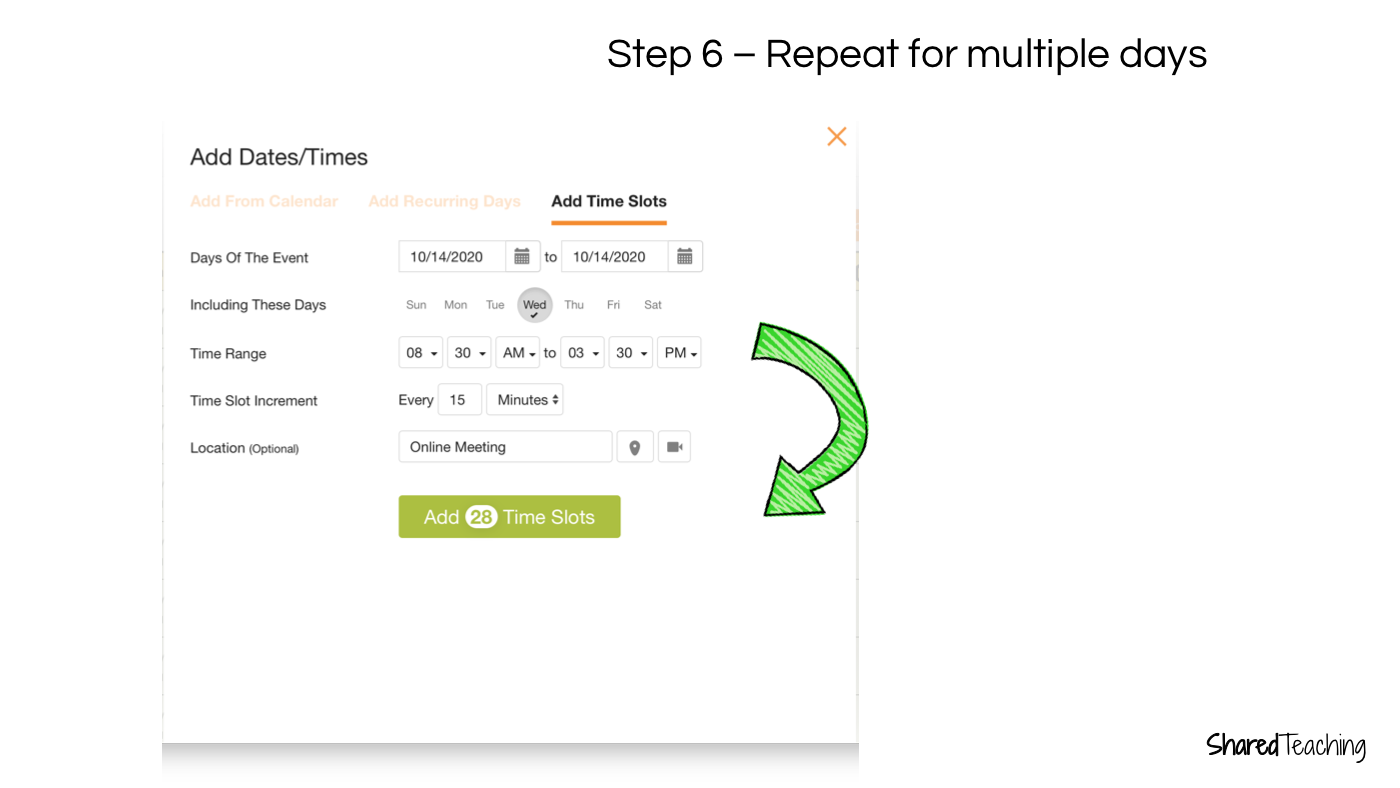 Repeat steps for multiple dates