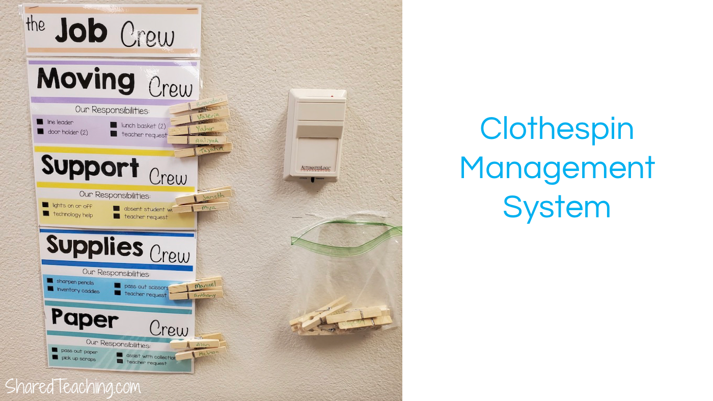 Using clothespins is an easy way to manage which jobs have been done and rotate them weekly.