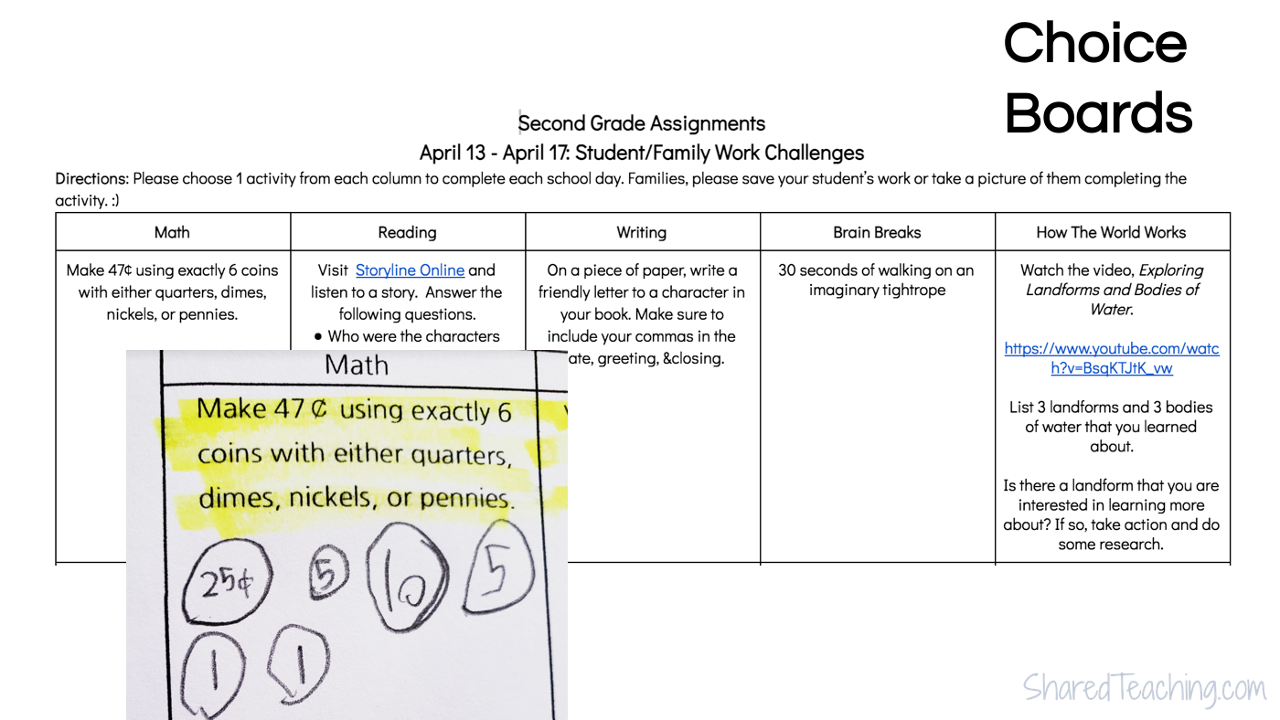 Choice boards can be weekly or monthly choices for students to complete at home.
