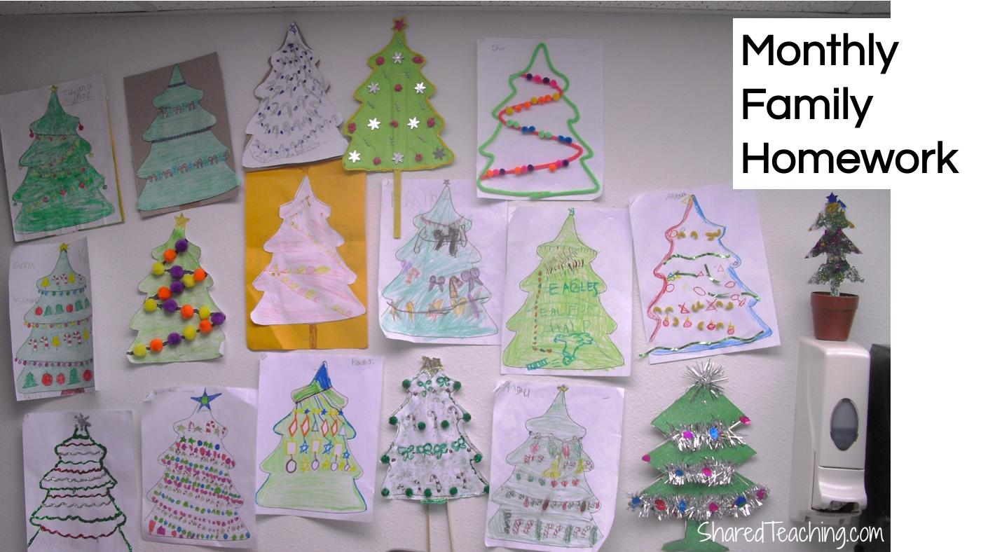 December holiday hidden patterns family homework idea.